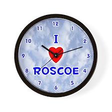 I Love Roscoe (Blue) Valentine Wall Clock