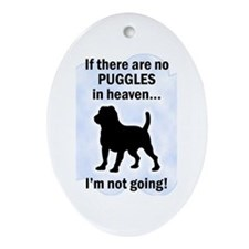 Puggles In Heaven Oval Ornament