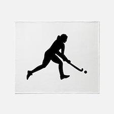 Field hockey girl Throw Blanket