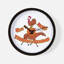 Merry Thanksgivoweenmas Wall Clock