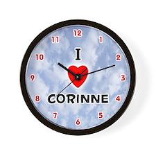 I Love Corinne (Red/Blk) Valentine Wall Clock