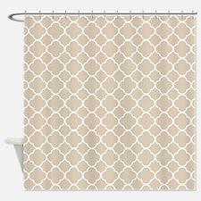 Brown, Beige: Quatrefoil Clover Pat Shower Curtain