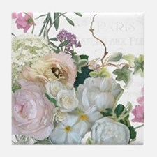French Flower Market Paris Roses Peon Tile Coaster