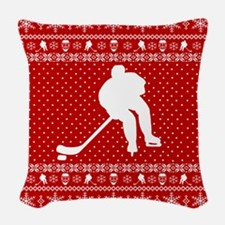 Ugly Hockey Xmas Sweater Woven Throw Pillow