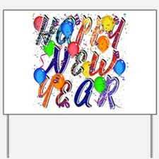 Happy New Year Confetti Yard Sign