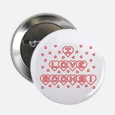 "I Love Books! w Hearts 2.25"" Button"