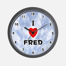 I Love Fred (Black) Valentine Wall Clock
