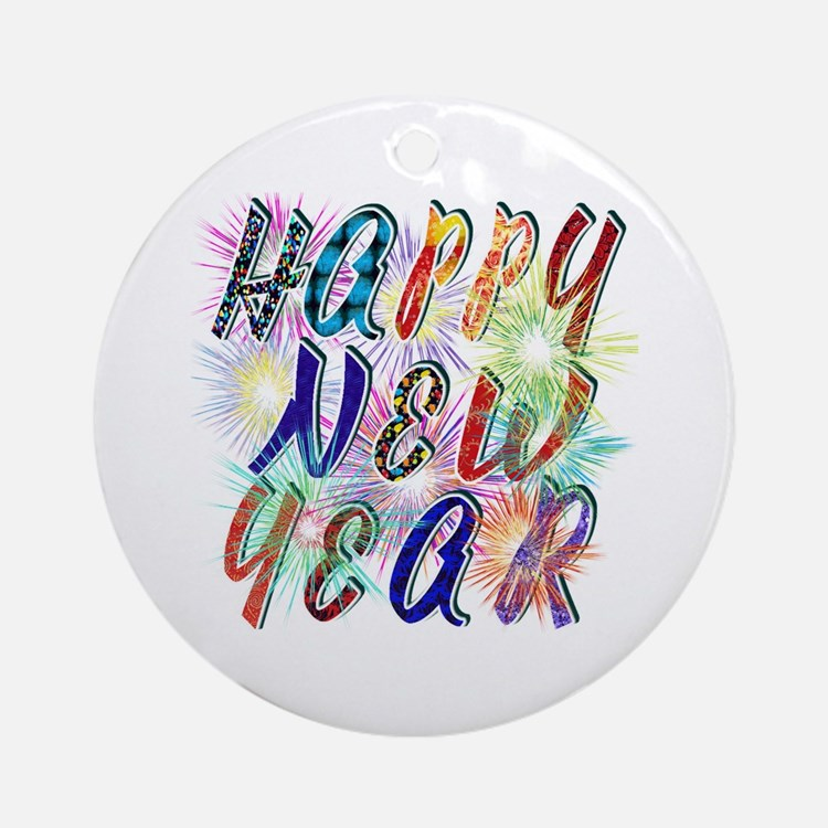 Happy New Year Works Round Ornament
