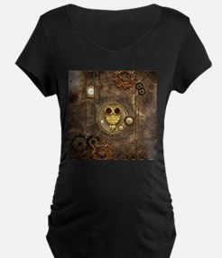 Awesome steampunk owl with clocks Maternity T-Shir