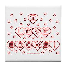 I Love Books! w Hearts Tile Coaster