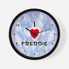 I Love Freddie (Black) Valentine Wall Clock