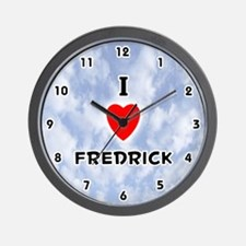 I Love Fredrick (Black) Valentine Wall Clock