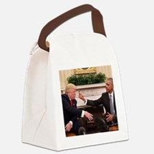 barack obama giving donald trump Canvas Lunch Bag