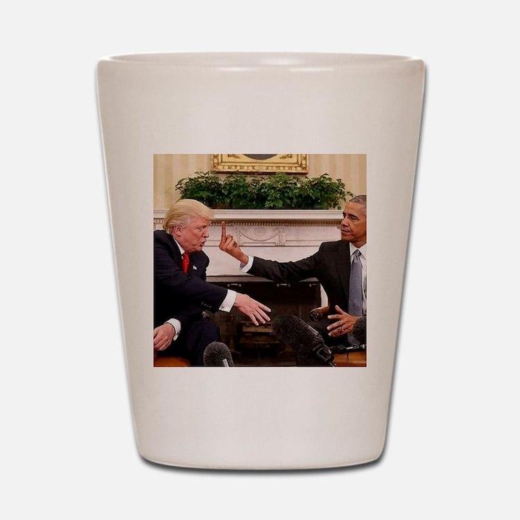 barack obama giving donald trump the mi Shot Glass