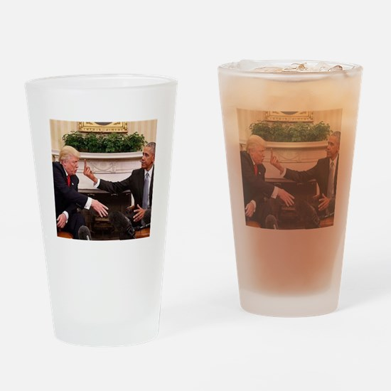 barack obama giving donald trump th Drinking Glass