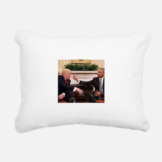 barack obama giving dona Rectangular Canvas Pillow