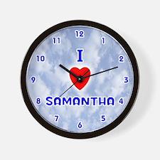 I Love Samantha (Blue) Valentine Wall Clock