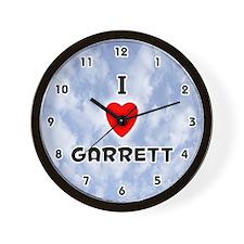 I Love Garrett (Black) Valentine Wall Clock