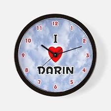 I Love Darin (Red/Blk) Valentine Wall Clock