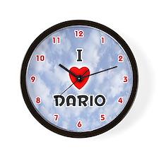 I Love Dario (Red/Blk) Valentine Wall Clock