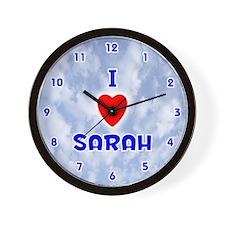I Love Sarah (Blue) Valentine Wall Clock