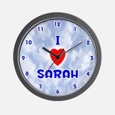 I Love Sarah (Blue) Valentine Wall Clock