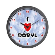 I Love Daryl (Red/Blk) Valentine Wall Clock
