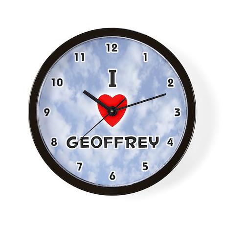 I Love Geoffrey (Black) Valentine Wall Clock
