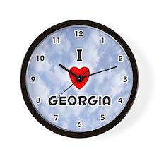 I Love Georgia (Black) Valentine Wall Clock