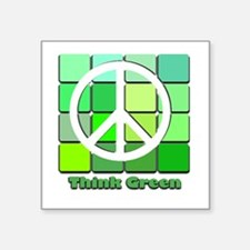 "Think Green Square Sticker 3"" x 3"""