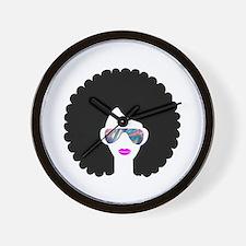 hologram afro girl Wall Clock