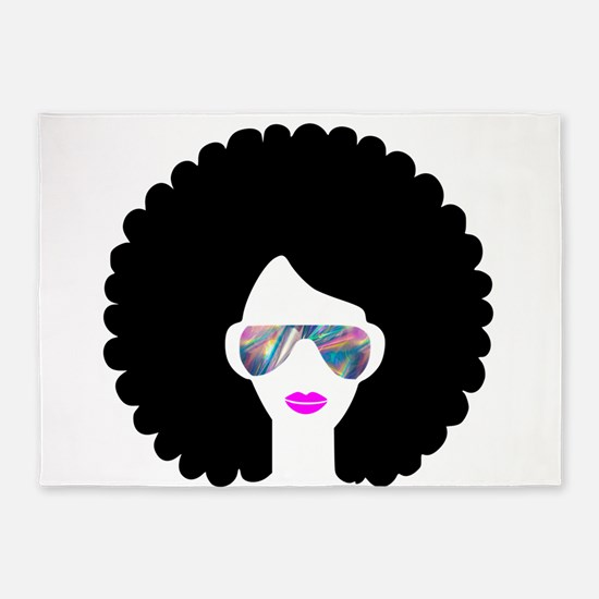 hologram afro girl 5'x7'Area Rug