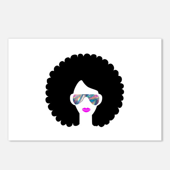 hologram afro girl Postcards (Package of 8)