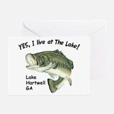 Lake Hartwell GA bass Greeting Cards