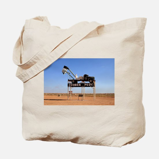 Coober Pedy town sign, Australia Tote Bag