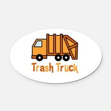 Cute Garbage truck Oval Car Magnet