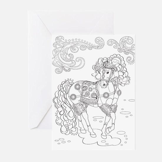 Prancing Paisley Horse Design: Greeting Cards