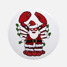 Christmas Santa Lobster Round Ornament