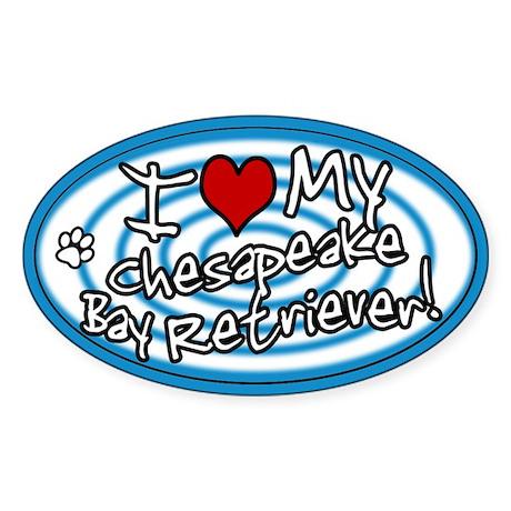 Hypno I Love My Chessie Oval Sticker Blue