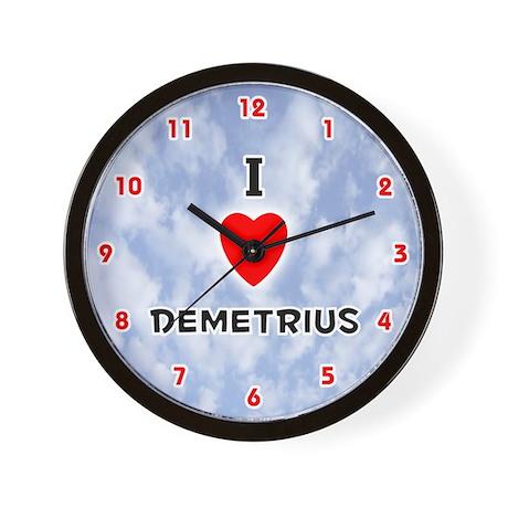 I Love Demetrius (Red/Blk) Valentine Wall Clock