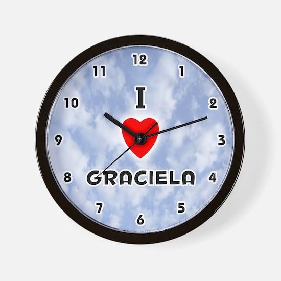 I Love Graciela (Black) Valentine Wall Clock