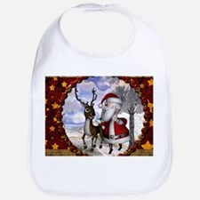 Funny Santa Claus with reindeer Baby Bib
