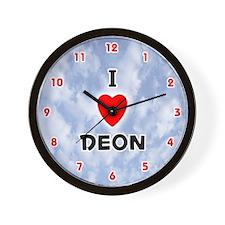 I Love Deon (Red/Blk) Valentine Wall Clock