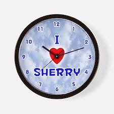 I Love Sherry (Blue) Valentine Wall Clock
