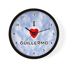 I Love Guillermo (Black) Valentine Wall Clock