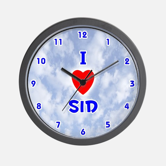 I Love Sid (Blue) Valentine Wall Clock