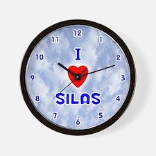I Love Silas (Blue) Valentine Wall Clock