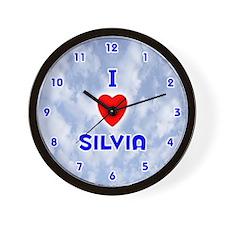 I Love Silvia (Blue) Valentine Wall Clock