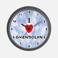 I Love Gwendolyn (Black) Valentine Wall Clock
