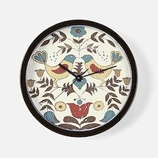Pennsylvania Dutch Country Birds Design Wall Clock